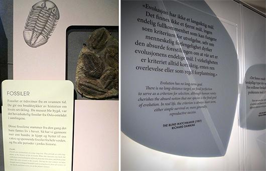 Till vänster textskylt i Stein og bein, till höger textskylt i Livets tre.