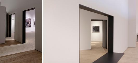 Ur utställningen Constructing Worlds, Photography and Architecture in The Modern Age.  Foto vänster: Matti Östling. Foto höger: Anders Persson