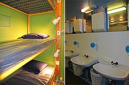 Mysigt? I små anonyma sovrum där män och kvinnor blandades fick man boka en säng för 12 timmar framåt. Däremot hade damer och herrar skilda badrum.