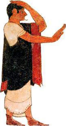 En augur kunde spå framtiden utifrån hur fåglarna flög över himlen. Gravmålning i Tarquinia ca 500 f.Kr.