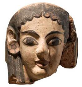 Etruskiskt antefix i terrakotta från takdekoration ca 550 f.Kr.