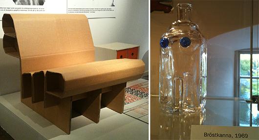 """Till vänster: Minst ett år skulle pappfåtöljen """"Well"""" hålla formen. Till höger: Provokatören Erik Höglunds """"Bröstkanna""""."""