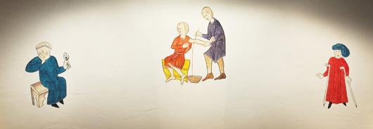 Tandvård, åderlåtning och kryckor. En medeltida konstnär hade inte målat så här glest, och en samtida konstnär hade knappast gjort det heller.
