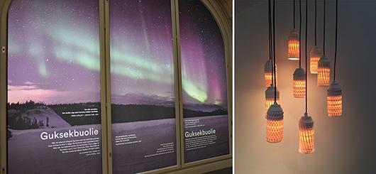 Till vänster norrsken på samiska, till höger Hanieh Heidarabis eleganta designlampor.