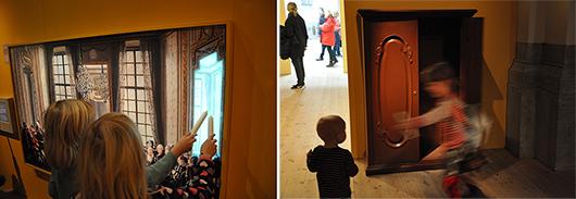 Bara för barn: magiska stearinljus som tänder den rekonstruerade målningen och en av de underbara dörrarna.