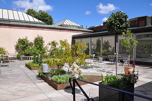 Atriumgården håller samman museets olika delar samtidigt som det inbjuder till en meditativ paus under besöket.