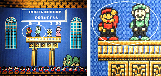 Dataspelet Super Mario Bros. 2 som minutiöst broderi av Per Fhager.