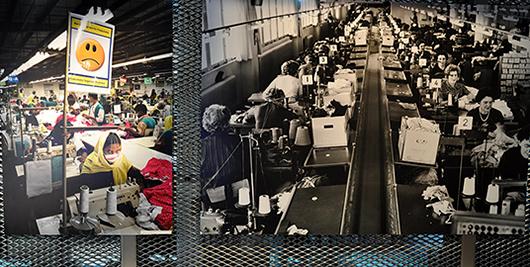 Två foton som ordlöst talar med varandra över tid och rum. Kvinnan till vänster stigmatiseras med en sur gubbe som visar att hon inte nått produktionsmålen.