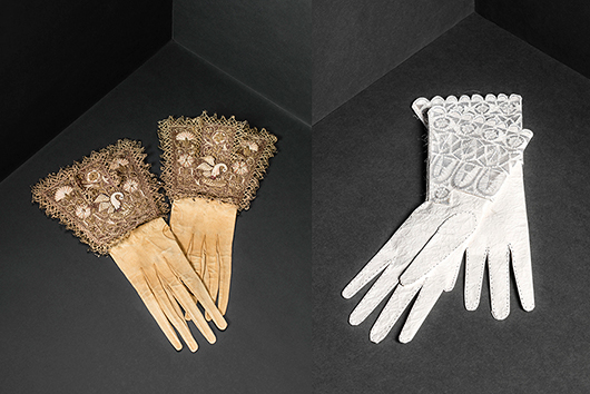 Några verk är skapade speciellt för Livrustkammaren, så som dessa vita handskar inspirerade av bruna getskinnshandskar från 1600-talet.