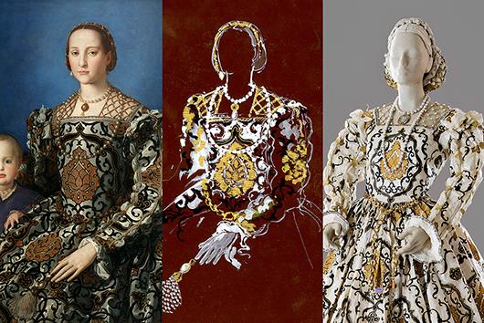 En liten inblick i papperskonstnären Isabelle de Borchgraves tillvägagångssätt. Här syns Eleonora av Toledo (1522-1562) med sonen Giovanni avporträtterade av Agnolo Bronzino ca 1545.  Foto till höger: Andreas von Einsiedel. Collage: Jens Mohr