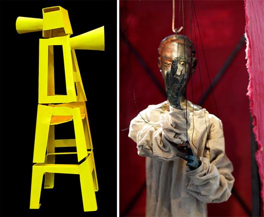 Marionetteater heter denna digitalt styrda skulpturinstallation. Foto: Torsten Jurell