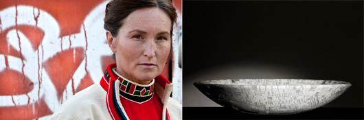 Monica L. Edmonson har införlivat det nya materialet glas med det samiska konsthantverket.  Foto: Mikael Ruthberg