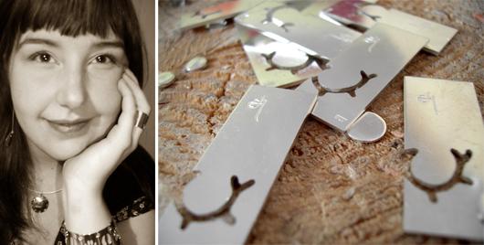Erica Huuva skapar smycken i silver som tar avstamp i en samisk tradition. Foto: Pia Huuva
