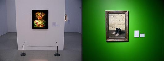 Verk av två mästare, Arcimboldo till vänster och Magritte till höger.