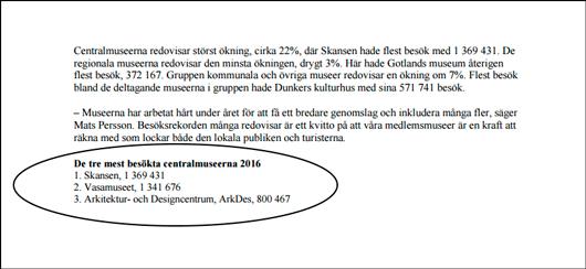 Ur pressmeddelande från Riksförbundet Sveriges Museer.
