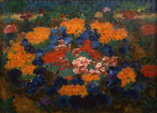 Emil Noldes målning Blumengarten hängde under många år på Moderna museet i Stockholm.