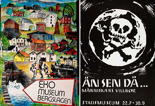 Till vänster: Affisch 1987. Utformning Örjan Hamrin/Dalarnas museums fototarkiv. Till höger: Affisch 1969. Utställningen producerades av Chalmersstudenter. Stockholms stadsmuseums arkiv.