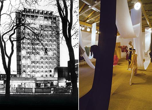 Till vänster Norsk Designcentrum, NDC, som låg i Industriens og eksportens hus i Oslo och var landets första center för design. Till höger utställningen Klær i kontraster på LNB:s Galleri Vognremissen år 1986. Foto: Brynjulv Aartun