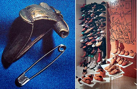Till vänster gör den moderna säkerhetsnålen alla förklaringar onödiga. Till höger fungerar de moderna skorna som en klargörande jämförelse med medeltidens skodon i trappan.