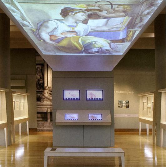 Rum i Michelangelo Drawings: Closer to the Master på British Museum i London. Metahors stillsamma utställningsarkitektur (man efterstävade stämningen i ett renässansbibliotek) öppnar möjligheter för sensationella upplevelser av många slag. Om man lägger sig på bänken ser man motiven i Sixtinska kapellet från samma avstånd som Michelangelo när han målade dem.