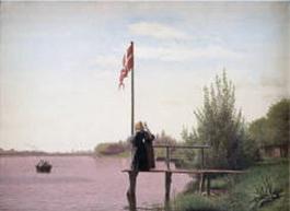"Ett av de drygt 300 danska verken i utställningen, Christer Kobkes ""Udsikt fra Dosseringen ved Sortedamssøen mod Norrebro"" (1838)."