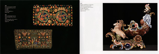 Uppslaget med skånska åkdynor i ull från 1800-talets början och en konfektskål i porslin från slutet av samma sekel är en av många fantasieggande föremålskrockar som utställningskatalogen bjuder på.