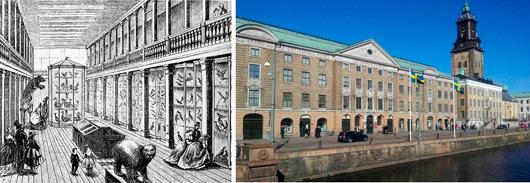 Ostindiska huset igår och idag. Till vänster en interiör ur ett reportage i Ny Illustrerad Tidning 1865, till höger exteriören i vår tid.