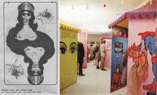 I Riksutställningars lika systemkritiska som skandalomsusade utställning Sköna stund 1967 samarbetade journalister, musiker, författare och en rad bildkonstnärer under ledning av initiativtagaren konstnären Ulf Lauthers. Foto: Riksutställningar