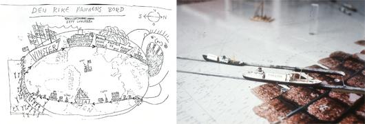 Den rike mannes bord var ett av Evas första projekt på Riksutställningar. Utställningen hade formen av ett skrivbord med bordsytan täckt av en karta över världshaven där lastbåtar rör sig fram och tillbaka. I de utdragbara lådorna konkretiseras den orättfärdiga handeln mellan den rika och den fattiga världen. Författaren Göran Palms utställningsskiss tolkades av bildkonstnären Sigvard Olsson. Foto: Riksutställningar