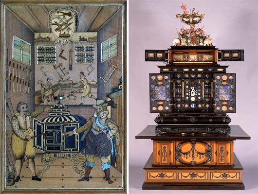 Under renässansen byggdes mängder av konstskåp i Augsburg, i verkstäder som den ovan. Det som Gustav II Adolf fick är ovanligt stort, 240 cm högt och 140 cm brett. Skåpet och stora delar av innehållet på tusen föremål är utställda på Gustavianum i Uppsala. Foto: Uppsala universitet Gustavianum