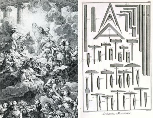 """Titelbladet i den franska Encyklopedin (1751-1777) visar hur upplysningsfilosoferna sliter slöjan av Sanningen. Bilderna i det tillhörande planschverket inspirerade de """"upplysta"""" forskarna och museimännen."""