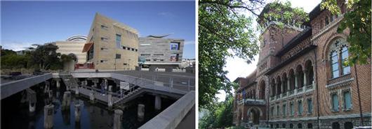 Förnyelse av utställningsmediet kan ske bakom såväl nya som gamla fasader. Nationalmuseet i Wellington, TePapa, och Bondekulturmuseet i Bukarest.