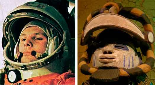 Denna vitt spridda bild av kosmonaut Gagarin vars varv runt jorden i rymdkapsel kompletterades framgångsrikt 1961, dök upp i minnet i mötet med Oro Efe. Ett märkligt sammanträffande är den kosmiska betydelsen av dansmasken med sin krönande liggande månskära, och rymdfararens skyddsutrustning. Dansmasken Oro Efe ur Birgit Åkessons samling föreställer nattens konung, som dansar vid midnatt om jordens och himlens välsignelser för yorubafolket i Nigeria. Bilden är tagen i utställningens monter.  Foto: Malin Zimm