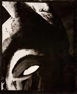 Fotografiskt gummitryck av en dansmask från igbofolken i Nigeria.  Foto: Erika Rodin och Tony Sandin.