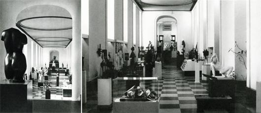"""Skulpturhallen i Göteborgs konstmuseum före 1946, """"Bara skulpturer"""" samt 1983 """"Konst och kommers"""". Idag är kommersen borta och antalet skulpturer färre än någonsin."""