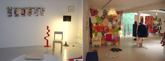 Utställningen Flyttar in på galleri Andréhn-Schiptjenko i Stockholm. Vänner bidrog med inredningen.