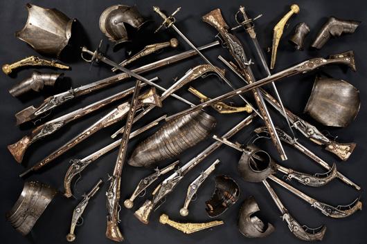 Vapen som svenskarna tog från den hertigliga rustkammaren i Mitau 1621. Foto: Göran Schmidt