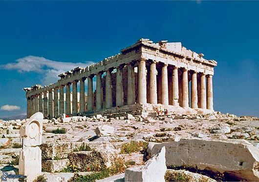 Parthenon. Tempel helgat åt Athena, uppfört på 400-talet f.Kr. Foto: Steve Swayne