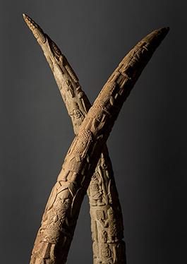 På de kungliga minnesaltarna i Benin placerades skulpterade elfenben som både berättade om händelser i kungarikets historia och i andlig bemärkelse länkade samman den regerande kungen med sina företrädare. Etnografiska museet i Stockholm. Foto: Tony Sandin