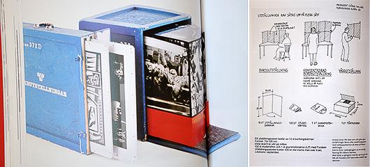 """Något som alltid har kännetecknat Riksutställningar är de kreativa lösningarna på transportproblemen. Hur gör man den rumsliga utställningen portabel? Ett av kapitlen i boken heter just """"Från låda till rum""""."""
