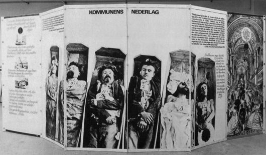 Riksutställningar erinrade om 200-årsminnet av Pariskommunen med en liten wellpapputställning som turnerade på bibliotek 1971. Foto: Olof Wallgren, Riksutställningar