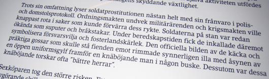 Utdrag ur text på pulpeten Den militära prostitutionen.