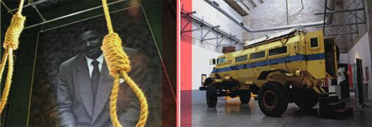 Red Location, nybyggt museum i en av Sydafrikas äldsta kåkstäder i Porth Elisabeth: en av utställningarna handlar om Vuyisili Mini som avrättades av apartheidregimen 1964. Pansarfordonet Caspar utställt i museets bottenvåning användes av polisen vid upplopp.