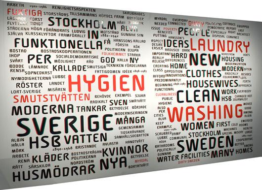 Associationsrik tag cloud där ordens storlek avspeglar deras frekvens i den långa linjära texten om tvättandets sociala historia som finns på motstående sida av rummet.